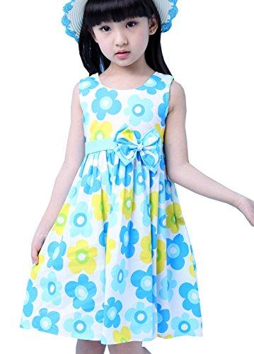 Nichna Little Girls Summer Sleeveless Floral Print Party Sundress With Bowknot Blue 6 7