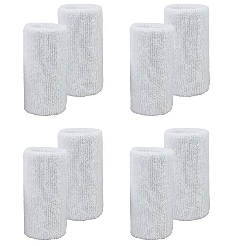 MAKLULU 8PCS 6-inch White Sports & Outdoors Double Sweat Wristbands 2 Ply Thickness Terry Cloth Moisture Wicking - L04