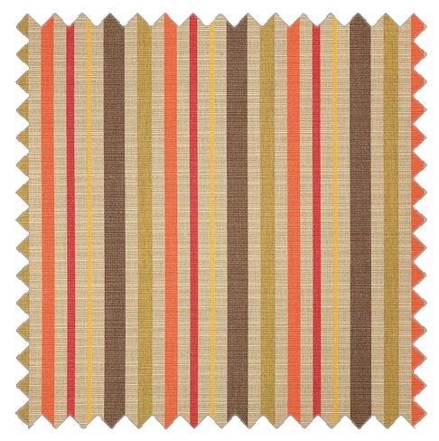 RSH Décor Sunbrella Indoor/Outdoor Curtain Drapery Panel with Rod-Pocket (Sunbrella Solano Fiesta - Tan/Beige, Coral Orange, Olive Green & Brown Stripe, 50'' W x 84'' L)