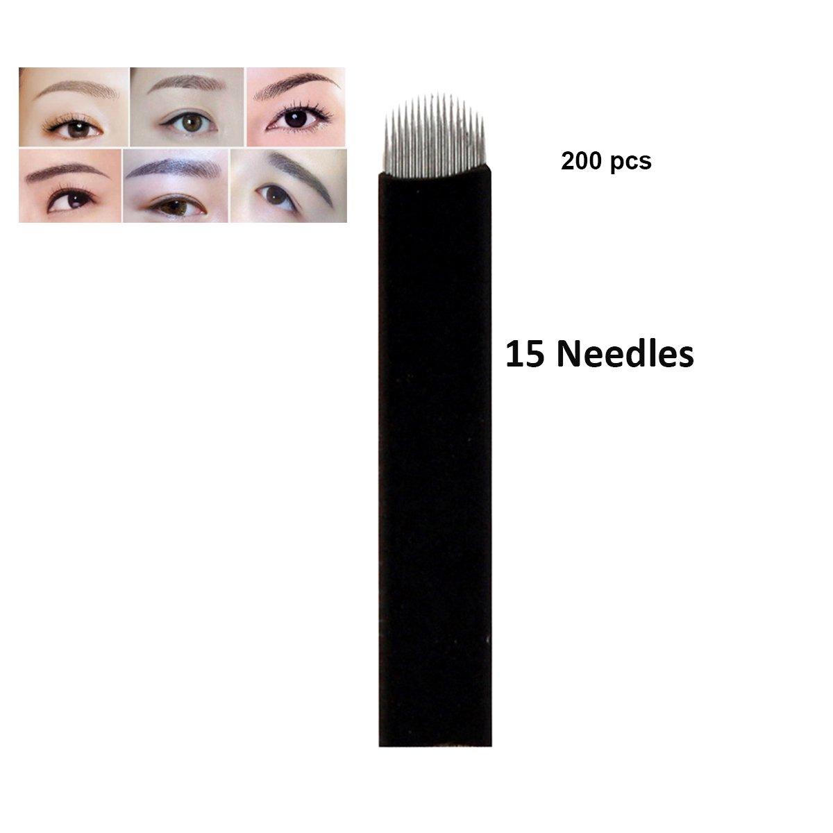Guapa 200 Unidades en Forma de U 16 y 18 Agujas Negras Hoja de Microblading Aguja de Tatuaje Manual Permanente de Maquillaje Maquillaje (U18)