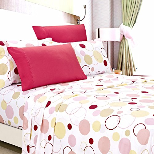 American Home Collection Deluxe 6 Piece Printed Sheet Set Highest Quality Of Brushed Fabric, Deep Pocket Wrinkle Resistant - Hypoallergenic (Full, Honey Pink - Bed Set Deluxe