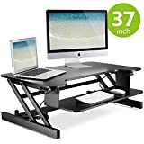 LITTLE TREE 37in Standing Desk, MDF Height Adjustable Stand Up Desk Riser with Wide Keyboard Tray,Gas Spring Hovering System for Dual Monitor (37in/Black Finish)