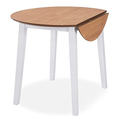 Festnight Mesa Plegable para Cocina de Redonda,Ambos Lados se Pueden Plegar,MDF,90x75cm,Blanca