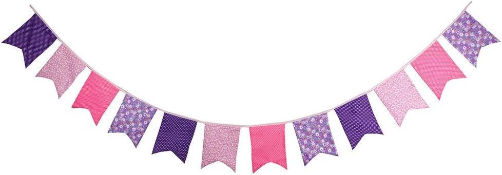 Bander/ín Guirnaldas Tela vintage Decoraci/ón elegante para dormitorio de fiesta de cumplea/ños o decoraci/ón de bodas 3M banderines,Banderines de colores,Banderines de lino