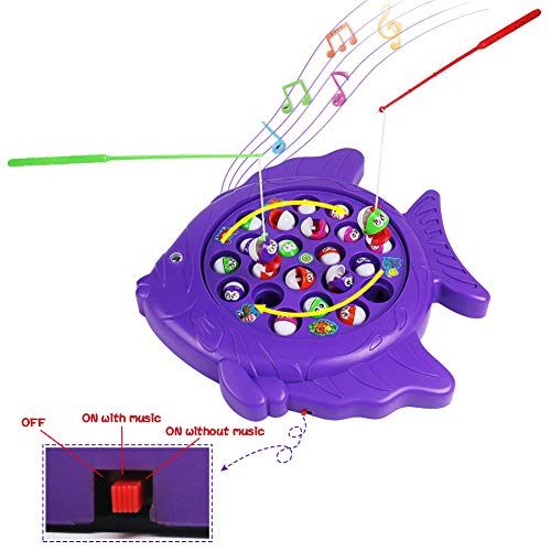 Electronic Rotating Fish Board Game Party Favors Educational Fishing Toy with Music Great Gift for Kids Boys Girls ()