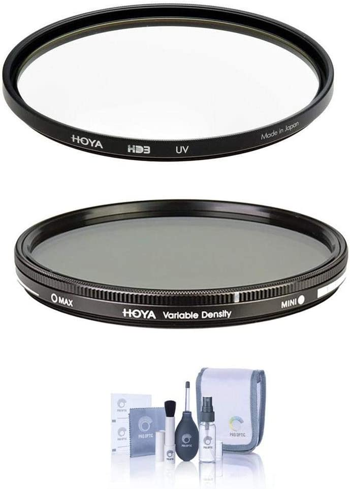 0.45 to 2.7 Hoya 52mm HD3 UV Filter 52mm Variable ND Filter 1.5 to 9 Stops Cleaning Kit