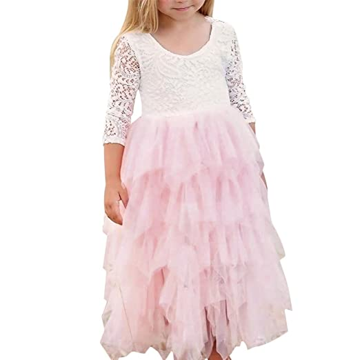 962a13bc501d8 Amazon.com: Baby Kid Girl Lace Flower Rustic Tutu Dress Wedding ...