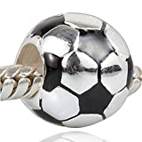 Charmstar Soccer Football with Black White Enamel Charm 925 Silver Sport Beads for European Bracelet