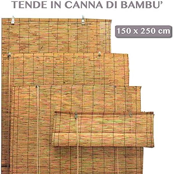 Cortina enrollable de caña de bambú, uso exterior (jardines, etc.), cortina de sol para decoración de exteriores, 150 x 250 cm: Amazon.es: Jardín