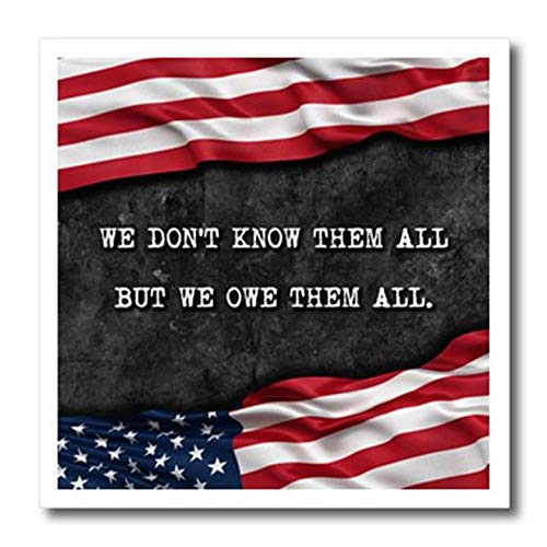 3dRose ht_238510_3 We Do Not We Do Not Know Them All But We Owe Them All Veterans Patriotic Quote Iron On Heat Transfer, 10""