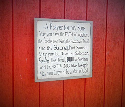 Prayer for My Son Personalized Wood Sign Bible Verse Wooden Sign Inspirational Wall Art Boys Room Home Decor Nursery Baby Shower Gift 24