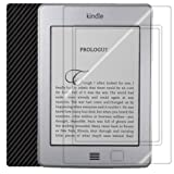 ArmorSuit MilitaryShield - Amazon Kindle Touch 3G Black Carbon Fiber Skin Back Protector Film + Anti-Bubble HD Clear Screen Protector For Amazon Kindle Touch 3G