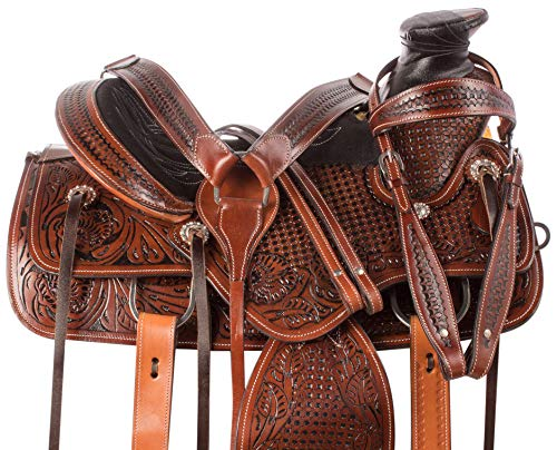 "AceRugs 15"" 16"" 17"" 18"" Roping Western Leather Tooled RANCHING Comfy Pleasure Horse Saddle TACK Set Premium ()"