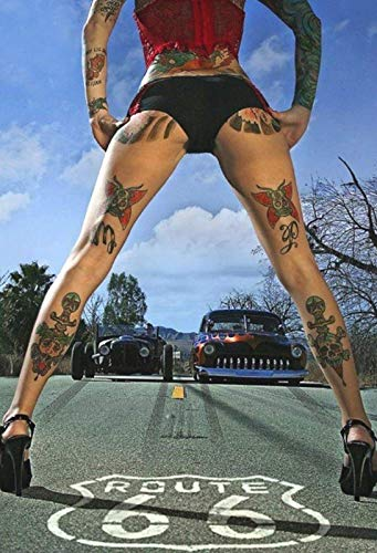 FDerks Pinup Tattoo Girl On The Route 66 Design Vintage Industrial Custom Metal Poster Home House Coffee Beer Drink Bar 18 x 24 Inches