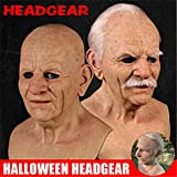 The Elder Old Man Headgear for Masquerade Halloween Realistic Headgear, Halloween Old Man Mask Latex Style, Bald Old Man Face Cover Realistic Human Horror Headgear for Cosplay Party Props