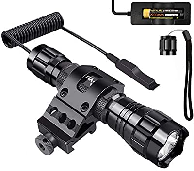CVLIFE T6 LED Tactical Flashlight Remote Control Torch Light(One Normal Cap as Gift) High Lumen Water Resistant Outdoor Home Used Flashlight, Picatinny Rail Mount Rechargeable 18650 Battery Include