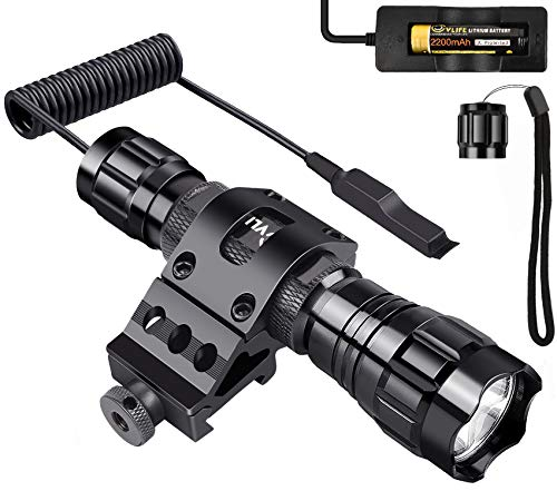 (CVLIFE T6 LED Tactical Flashlight Remote Control Torch Light (One Normal Cap Included) High Lumen Water Resistant Outdoor Home Used Flashlight, Rail Mount Rechargeable 18650 Battery)