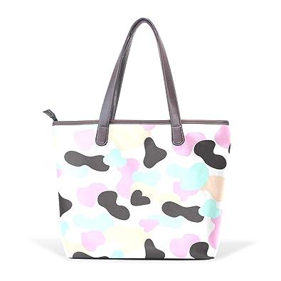 e714558c7953 Amazon.com  Pink And Blue Camo Pastel Women s Leather Handbag ...