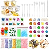 Sntieecr 60 Pack Resin Jewelry Making Supplies Kit with Glitter, Sequins, Mylar Flakes, Dry Flowers, Beads, Wheel Gears, Foil, Shells, Glass Stone, Tweezer and Scoops for Nail Art and Craft Decoration