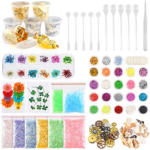 (Sntieecr 60 Pack Resin Jewelry Making Supplies Kit with Glitter, Sequins, Mylar Flakes, Dry Flowers, Beads, Wheel Gears, Foil, Shells, Glass Stone, Tweezer and Scoops for Nail Art and Craft Decoration)