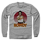 500 LEVEL's Rowdy Roddy Piper Long Sleeve T-Shirt L Heather Gray - Rowdy Roddy Piper Point R - Officially Licensed by Pro Wrestling Tees