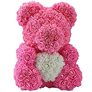 Luxury Rose Bear (Pink + White Heart) 81