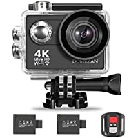 4K Action Camera Wifi, DOMEZAN Waterproof Sports Camera 12MP 170 Degree Wide Angle Includes 2 Rechargeable 1050 mAh Batteries Carrying Case & Accessories