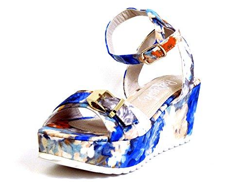 Mujeres Sandalias azul, (blau-kombi) 62057 AZULON