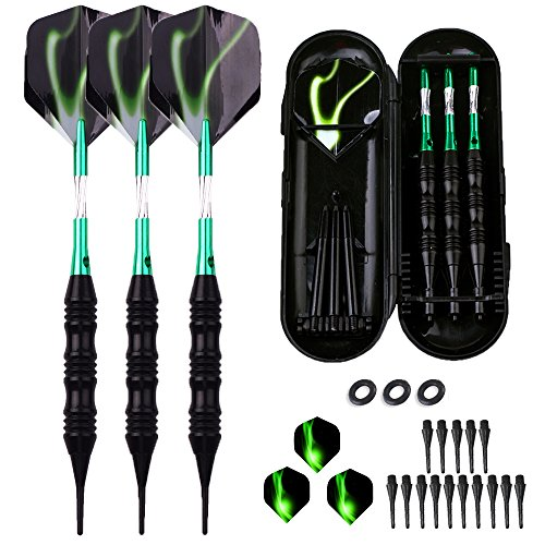 sanfeng Professional Soft Tip Darts Set 20 Grams W/O-Rings- Green Aluminum Shafts + 6 Standard Flights + 3 Black Frosted White Shafts + 30 Soft Tips + Portable Case