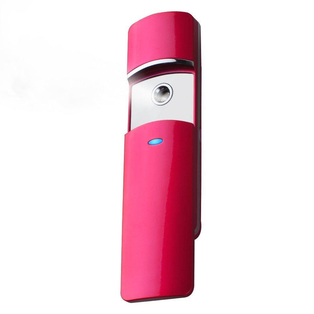 Nano Handy Mist Spray Atomization Rechargeable Facial Mister Nano Mister for Eyelash Extensions Mist (Rose Red) Ltd