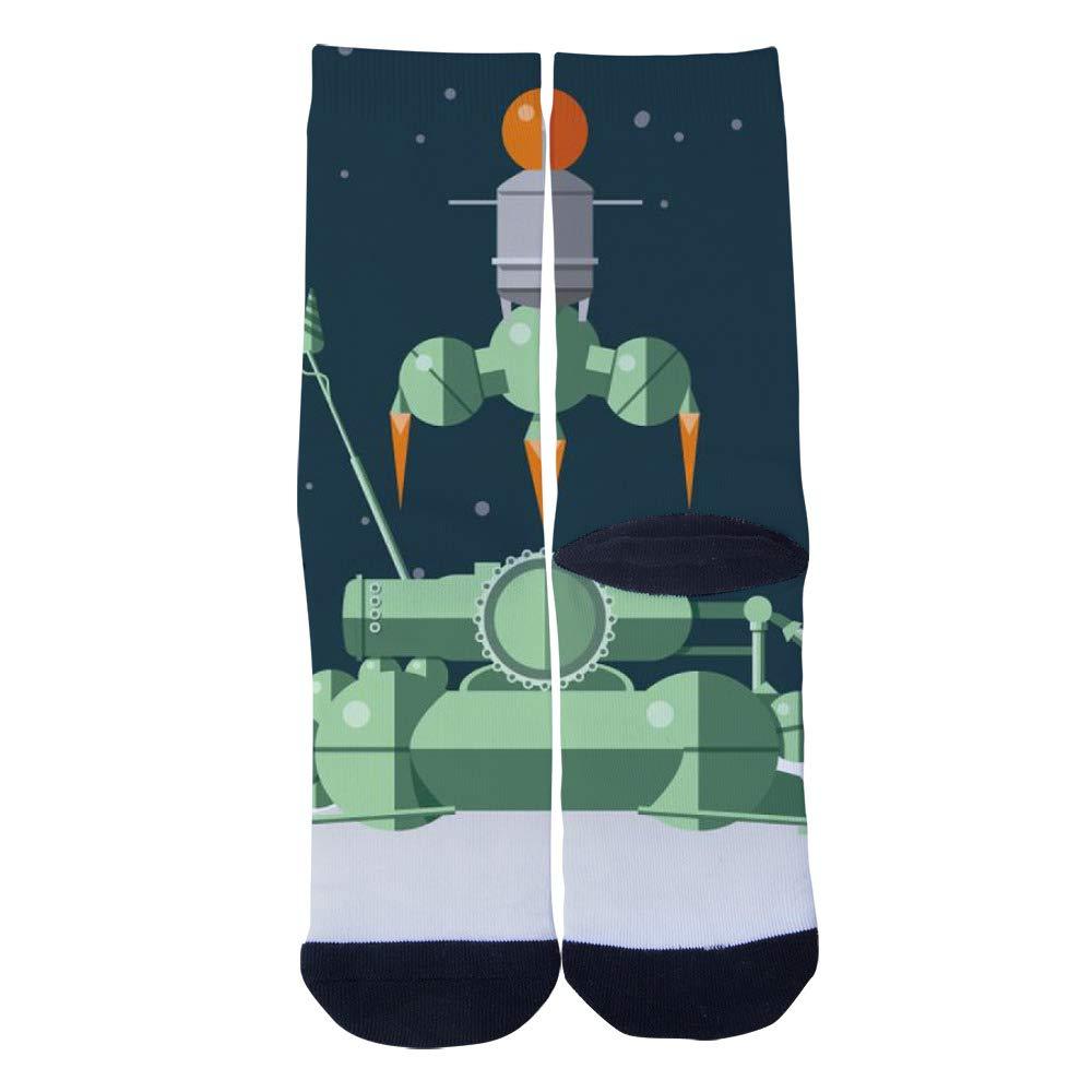 TheFun-Z Custom Exploring the Moon Socks Novelty Funny Cartoon Crew Socks Elite Casual Socks