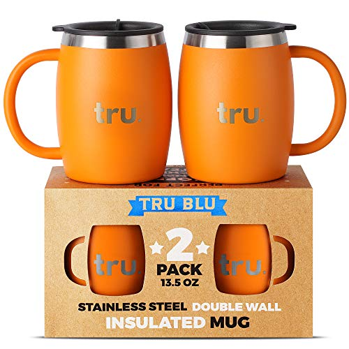 Stainless Steel Coffee Mug, Premium Double Wall Insulated Travel Mugs - Shatterproof, Dishwasher Safe, Comfortable Handle Cups for Tea, Beer (Orange, 13.5 oz) by Tru Blu Steel