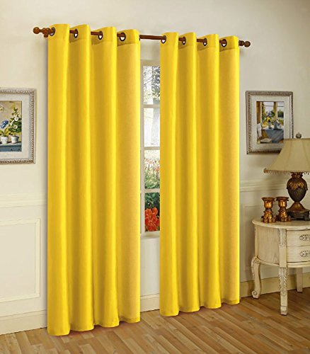 Melanie Faux Silk Panel With 8 Grommets, Bright Yellow, 55x63, 2-Pack