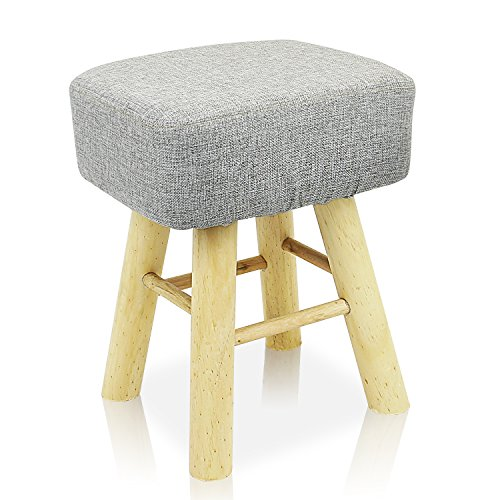 DL furniture - Square Ottoman Foot Stool, 4 Leg Stands Square Shape ,Long Leg | Linen Fabric, Gray Cover