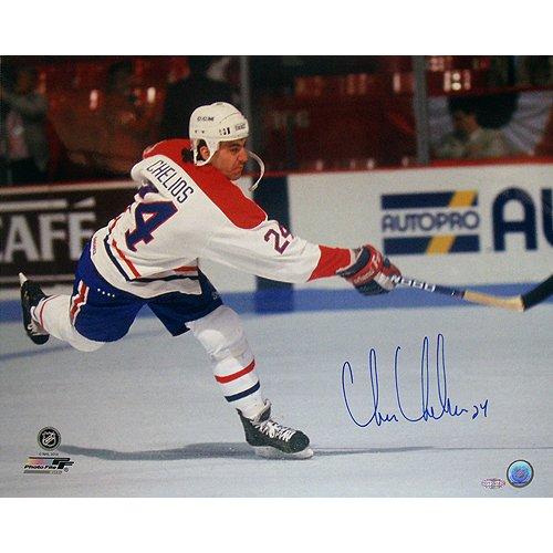 NHL Detroit Red Wings Chris Chelios Canadiens Slap Shot Horizontal Photograph, ()