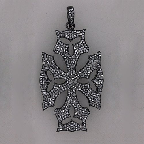 (Natural Diamond Pave Designer Cross Pendant Handmade 925 Sterling Silver Fine Religious Jewelry)