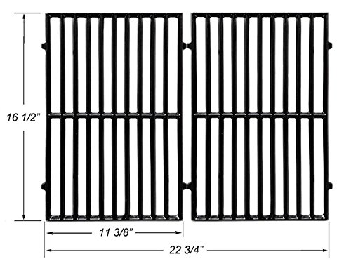 BBQ funland Set of 2 Porcelain Coated Cast Iron Cooking Grid Replacement for Select Gas Grill Models by Vermont Castings, ProChef, Ellipse and Kenmore - Porcelain Hamilton