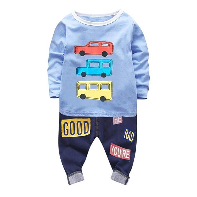 326c101e880 Jchen(TM) Infant Toddler Kids Little Boy Cartoon Car Long Sleeve Tops  Letter Pants