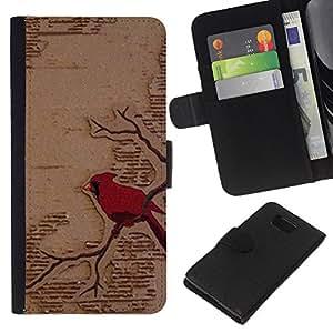 Leather Etui en cuir || Samsung ALPHA G850 || Arte rojo del pájaro Rama Fairytale @XPTECH