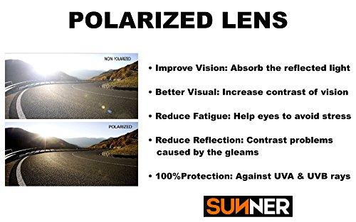 Femmes Légère SUP0937C3 Protection Polarisées Sunner UV400 avec Monture Verres Soleil une et Résistant pour de Lunettes OTO0I