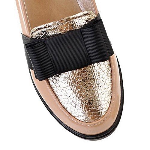 AgooLar Damen Niedriger Absatz Lackleder Gemischte Farbe Rund Zehe Pumps Schuhe Aprikosen Farbe