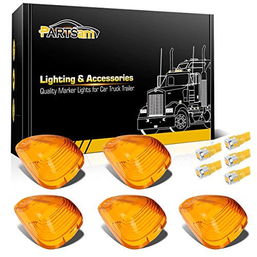 Partsam 5X Amber Roof Running Light Cab Marker Cover+ High Power T10 Amber 6-5730-SMD LED Bulbs Compatible with Ford F150 F250 F350 1999-2016 Super Duty Pickup Trucks