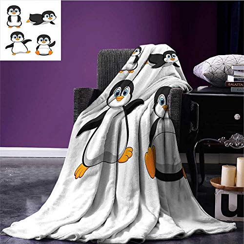 sunsunshine Baby Cozy Flannel Blanket Cute Penguin Cartoon Waving Standing Sliding Smiling Animal Humor Antarctica Oversized Travel Throw Cover Blanket Black Blue Orange Bed or Couch 62