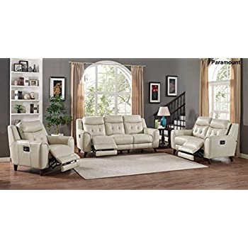 Amax Leather Paramount Power Reclining Sofa Three Pc Set With Power  Headrest And Power Lumbar