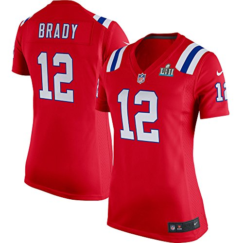 NIKE Tom Brady New England Patriots Women's Super Bowl LII Bound Game Jersey Red (Large) ()