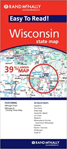rand mcnally easy to read wisconsin state map