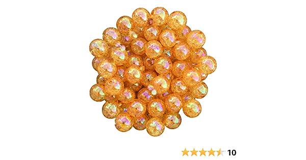 20mm New Orange AB Crackle Transparent Bubblegum Chunky Bead 10 Count