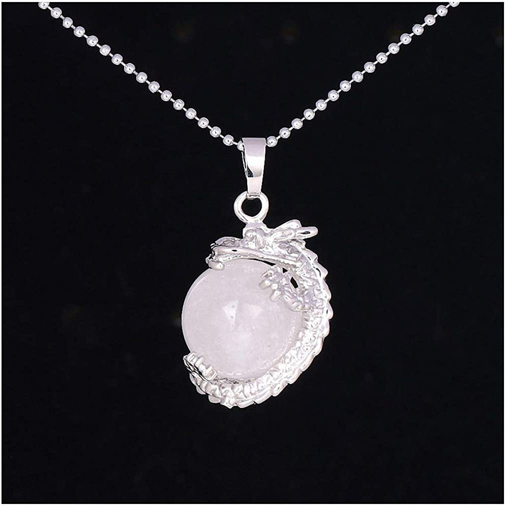 Tebapi Womens Pendant Necklaces China Dragon Wrapped Natural Stone Pendant Necklace for DIY Handmade Necklaces Round Ball Shape Crystal Bead Women Men F331