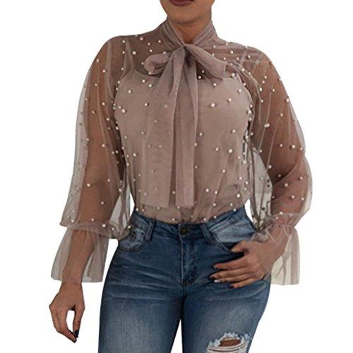 Satin Striped Button - GREFER 2018 Fashion Women Lace Splicing Fashion V-Neck Tops Long Sleeve Shirt Blouse (S, Khaki)
