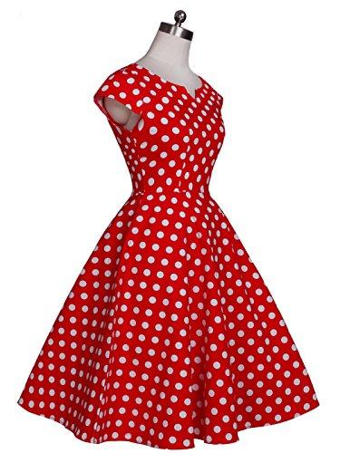 de Puntos Vintage COUPLE Rockabilly Vestido Mangas DRT019 Blancos Cap 1950S Baile Rojos Lunares FAIRY afU8wA